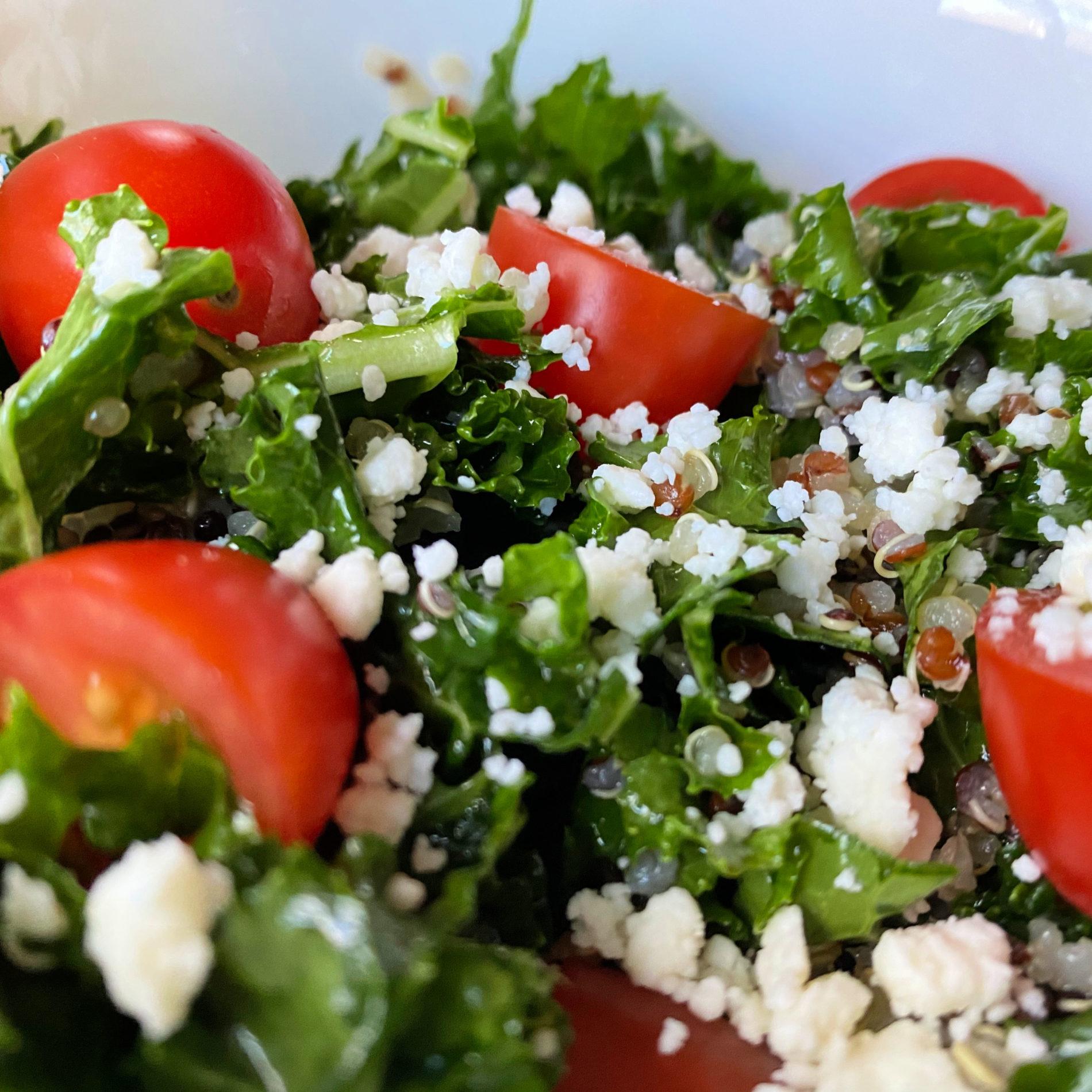 Kale Quinoa Feta Tomato